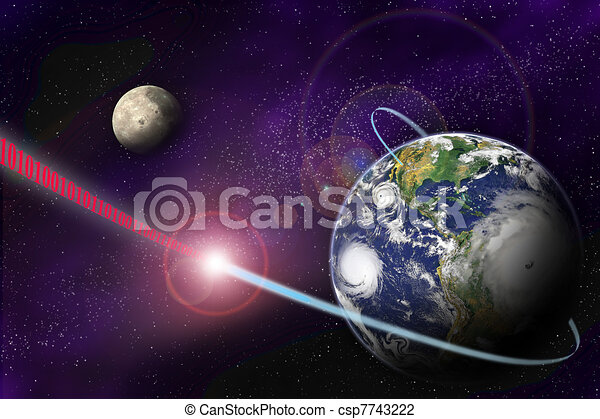 Technology digital communication in binary system on planet Earth and in universe - csp7743222