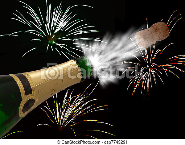 Celebration with champagne on party - happy new year - cool black background - csp7743291