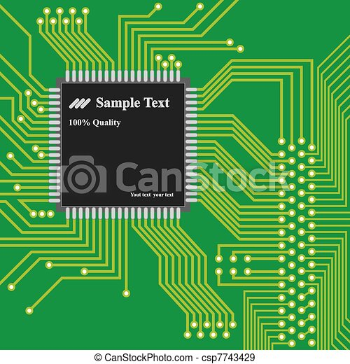 Vector - high technology background, computer circuit board - csp7743429