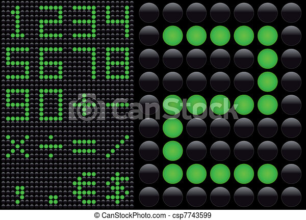 Vector LED - light emitting diode - info panel. Score board style numbers. - csp7743599
