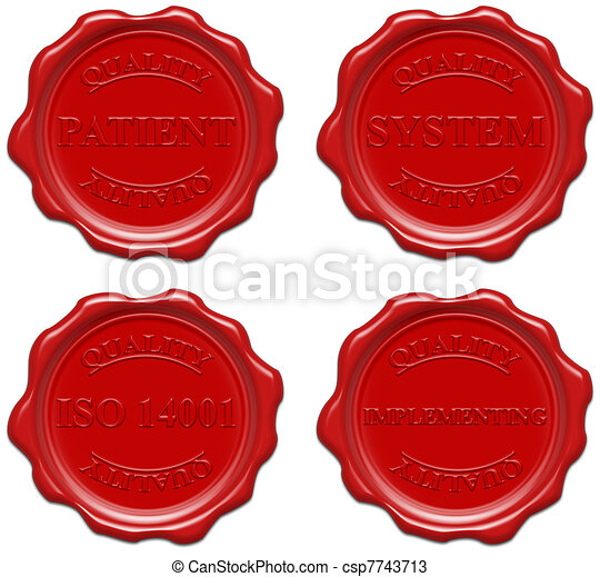 High resolution realistic red wax seal with text : quality, patient, system, iso 14001, implementing - csp7743713
