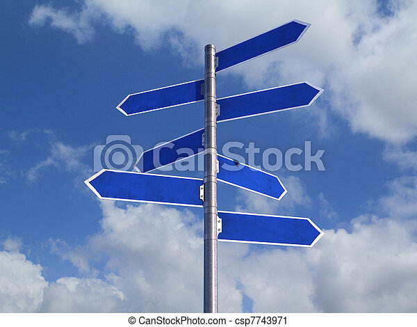 Blue Blank directions Signs over cloudy Sky - csp7743971