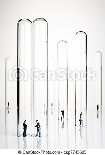 Business figurines and test tubes - csp7745605