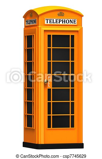 The British orange phone booth - csp7745629