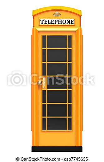 The British orange phone booth - csp7745635