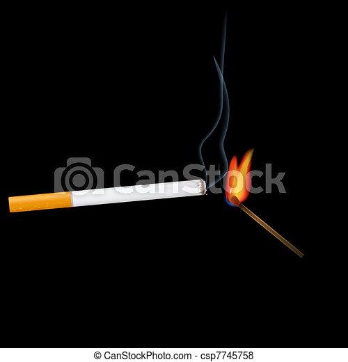 Cigarette and match - csp7745758