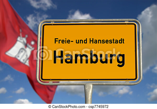 German road sign Hamburg, Bavaria - csp7745972