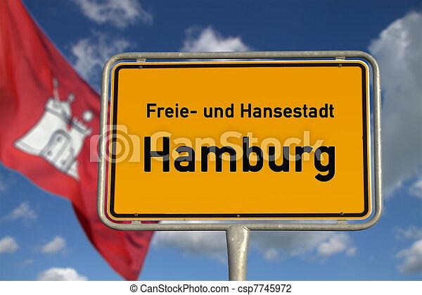 German road sign Hamburg, Bavaria - csp7745972