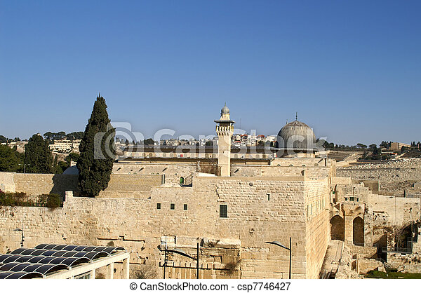 Al Aqsa mosque and minaret - islam in a holy land  - csp7746427