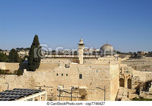 Al Aqsa mosque and minaret - islam in a holy land  - csp7746427