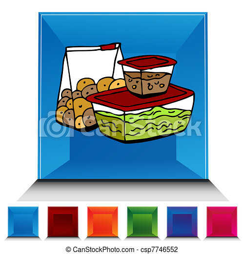 Vector Illustration of Leftover Food Storage Container ...