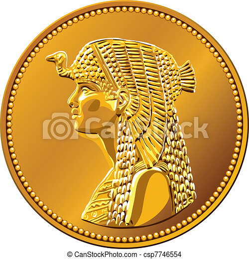 vector Egyptian money, gold coin featuring queen Cleopatra - csp7746554