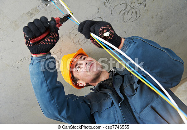 Electrician at wiring work - csp7746555