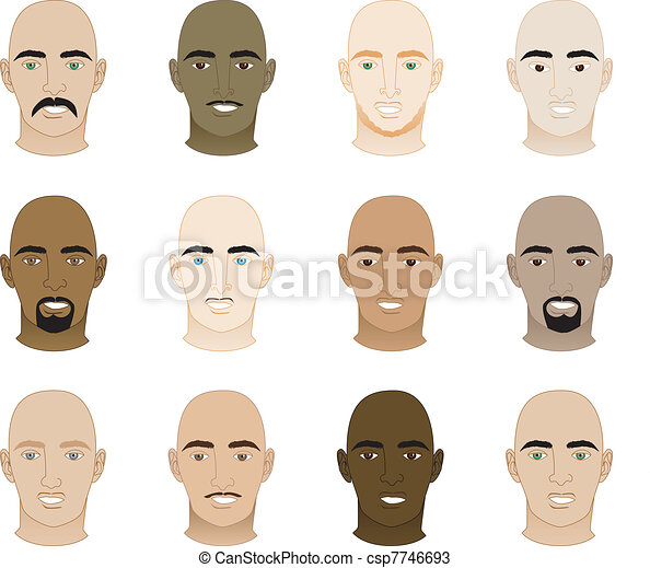 Bald Men Faces - csp7746693