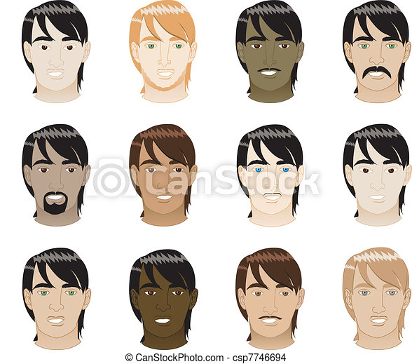 Straight Hair Men Faces - csp7746694
