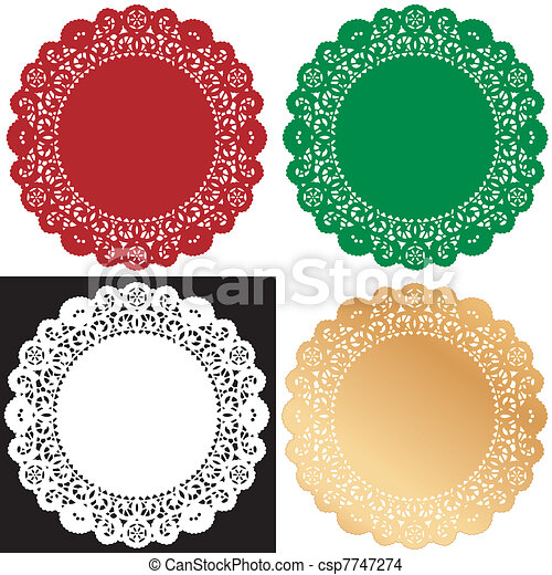 Holiday Lace Doily Place Mats - csp7747274