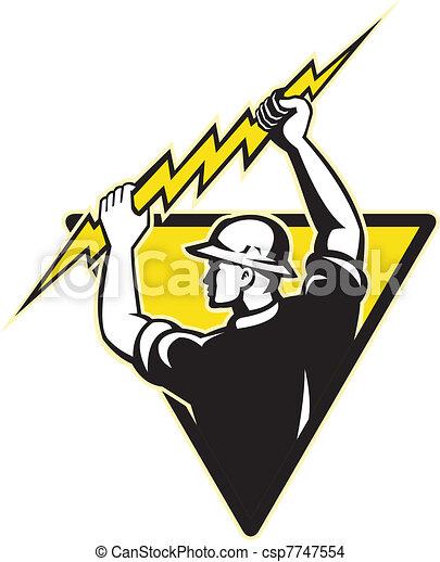 electrician power lineman holding lighting bolt - csp7747554