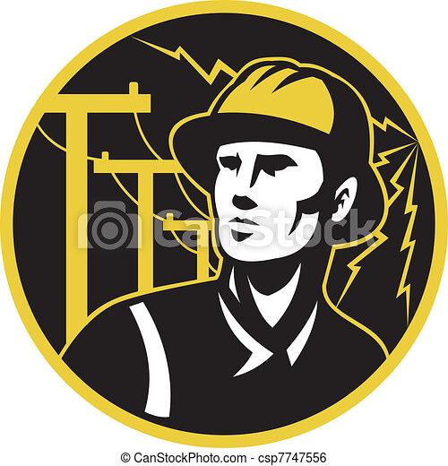 power lineman electrician repairman pole - csp7747556