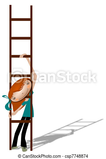 Girl with a ladder. - csp7748874