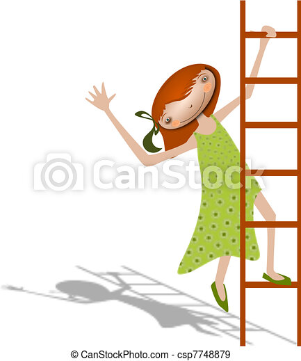 Girl with a ladder.  - csp7748879