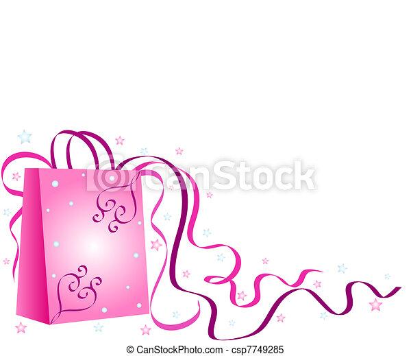 Pink shopping bag - csp7749285