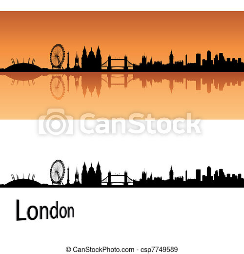 London skyline in orange background - csp7749589