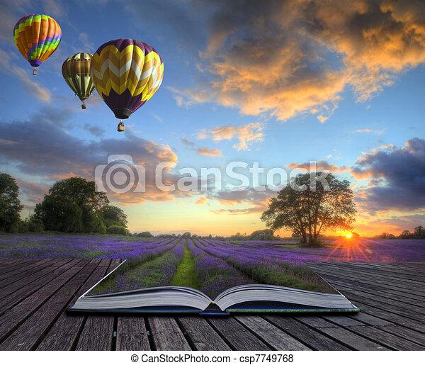 Hot air balloons lavender landscape magic book pages - csp7749768