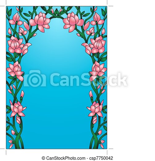 frame background with flowering flower - csp7750042