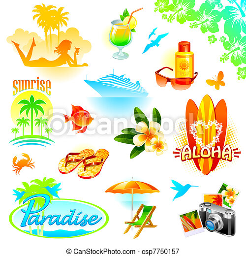 Tropical resort, travel and exotic holidays vector set - csp7750157