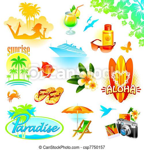 Tropical resort, travel and exotic holidays vector set - csp7750157