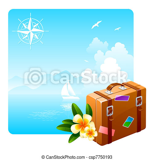 Travel suitcase and tropical flowers against an idyllic landscape - csp7750193