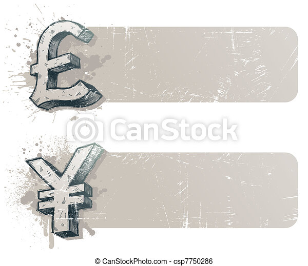 Vector banners with hand drawn currency signs - yen and pound sterling - csp7750286