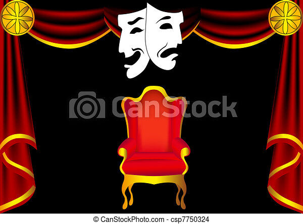 scene theater with curtain by chair and mask  - csp7750324