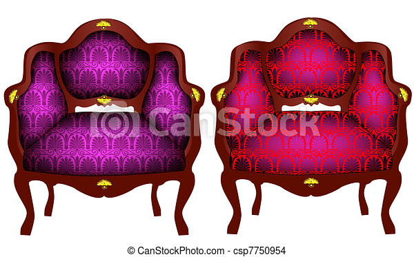 two chairs with gold detail - csp7750954