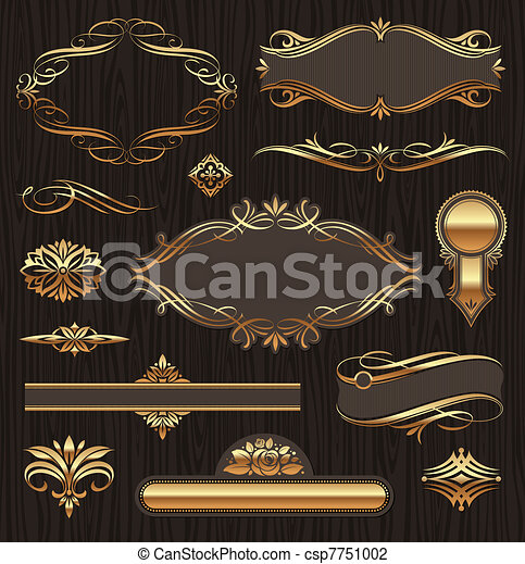 Vector set of golden ornate page decor elements:  banners, frames, deviders, ornaments and patterns on dark wood background - csp7751002