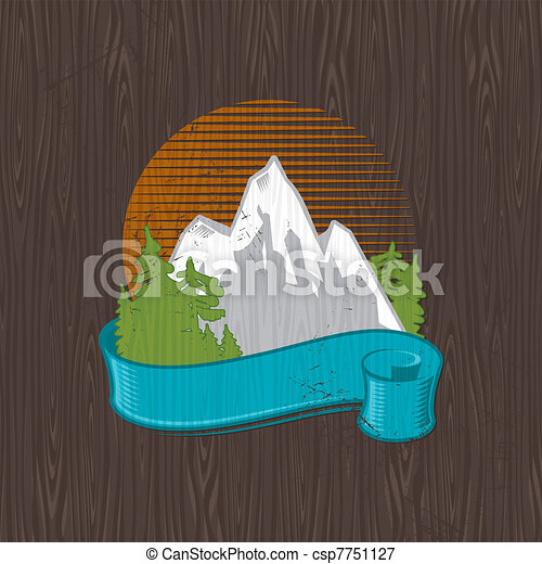 Vector illustration - color landmarks emblem painting on a black wood board - csp7751127