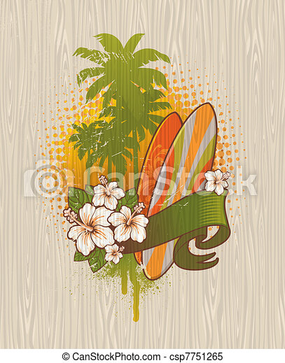 Vector illustration - Tropical surf emblem painting on a wood board - csp7751265