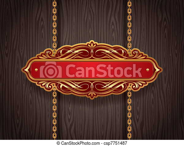 Vector ornate gold vintage signboard hanging on chains against a wooden wall - csp7751487