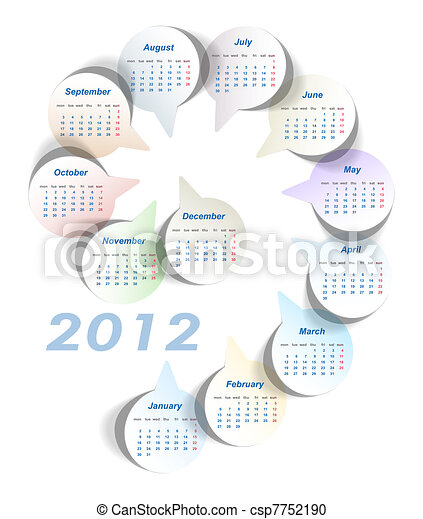 Vector calendar (week starts on Monday) - csp7752190