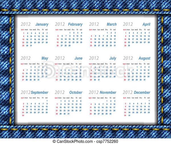 Vector jeans calendar 2012 (week starts on Sunday) - csp7752260