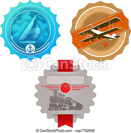 Vector vintage labels with retro transport - yacht, plane & steam locomotive - csp7752648