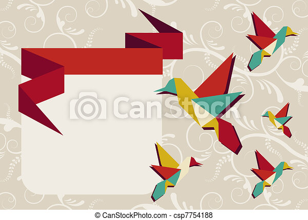 Origami hummingbird group greeting card - csp7754188