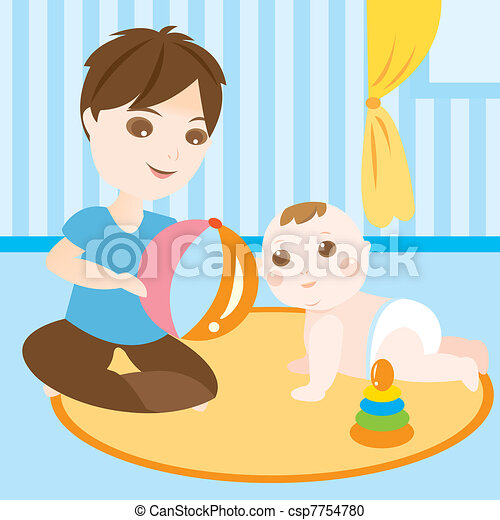 Vector Clipart of baby sitter playing ball with children - An ...