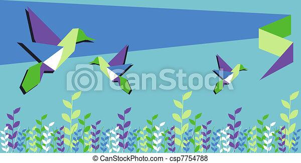 Origami hummingbird spring time - csp7754788