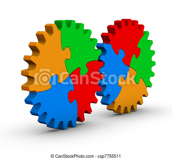 two gears of colorful jigsaw puzzles - csp7755511