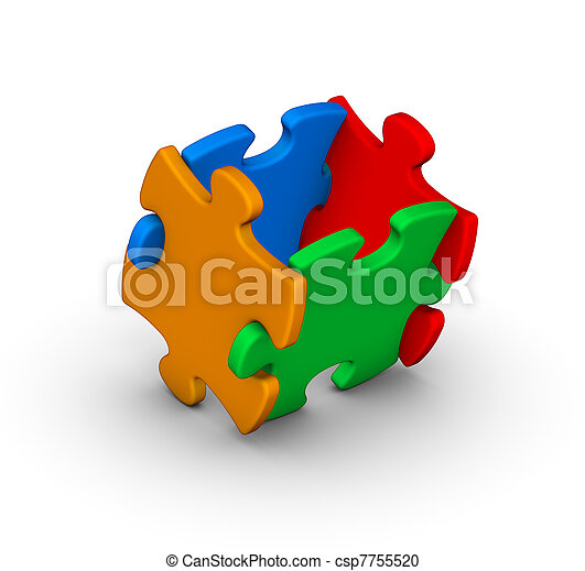 four colorful jigsaw puzzle pieces - csp7755520