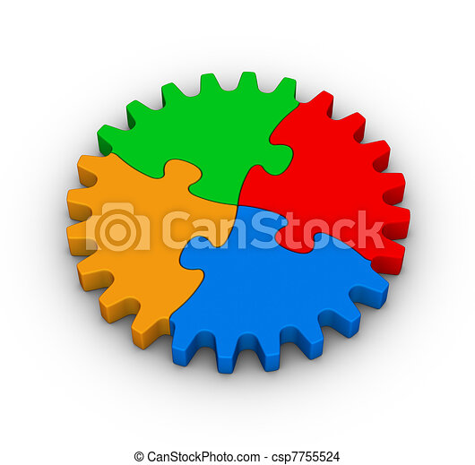 gear of colorful jigsaw puzzles - csp7755524