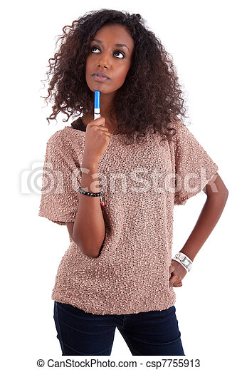 Thoughtful African American woman looking up - csp7755913