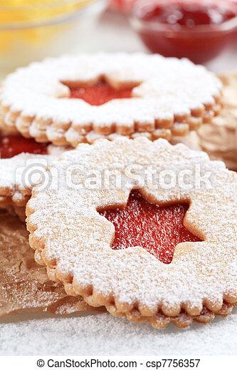 Jam shortbread cookies - csp7756357