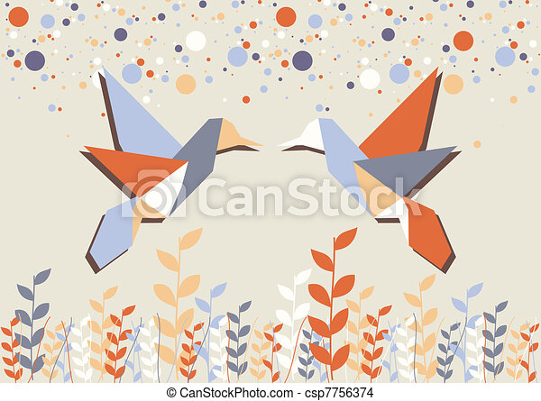 Origami hummingbird couple over beige - csp7756374